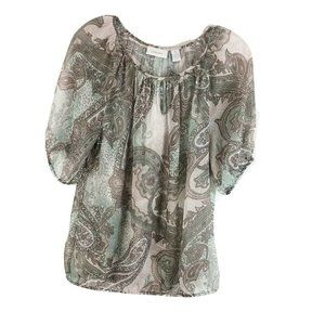 Chicos Paisley Printed Blouse Sheer Pink Green M